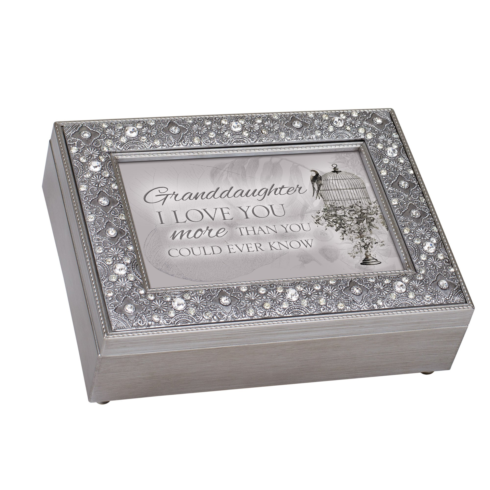 Amazon Com Cottage Garden Granddaughter I Love More Filigree Jewel Jewelry Music Box Plays Edelweiss Home Kitchen