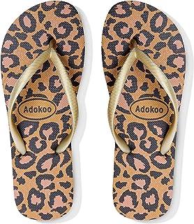 Adokoo Womens Flip Flops Slip on Sandals Beach Shoes Casual Thong Sandal