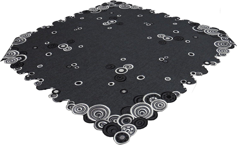 L/äufer in verschiedenen Gr/ö/ßen und Mitteldecke erh/ältlich Ausgew/ählte Gr/ö/ße jetzt: ca. 40 cm x 160cm Unbekannt Leinenoptik,anthrazit mit schwarzen und wei/ßen Kreismotiven,Kissenbezug