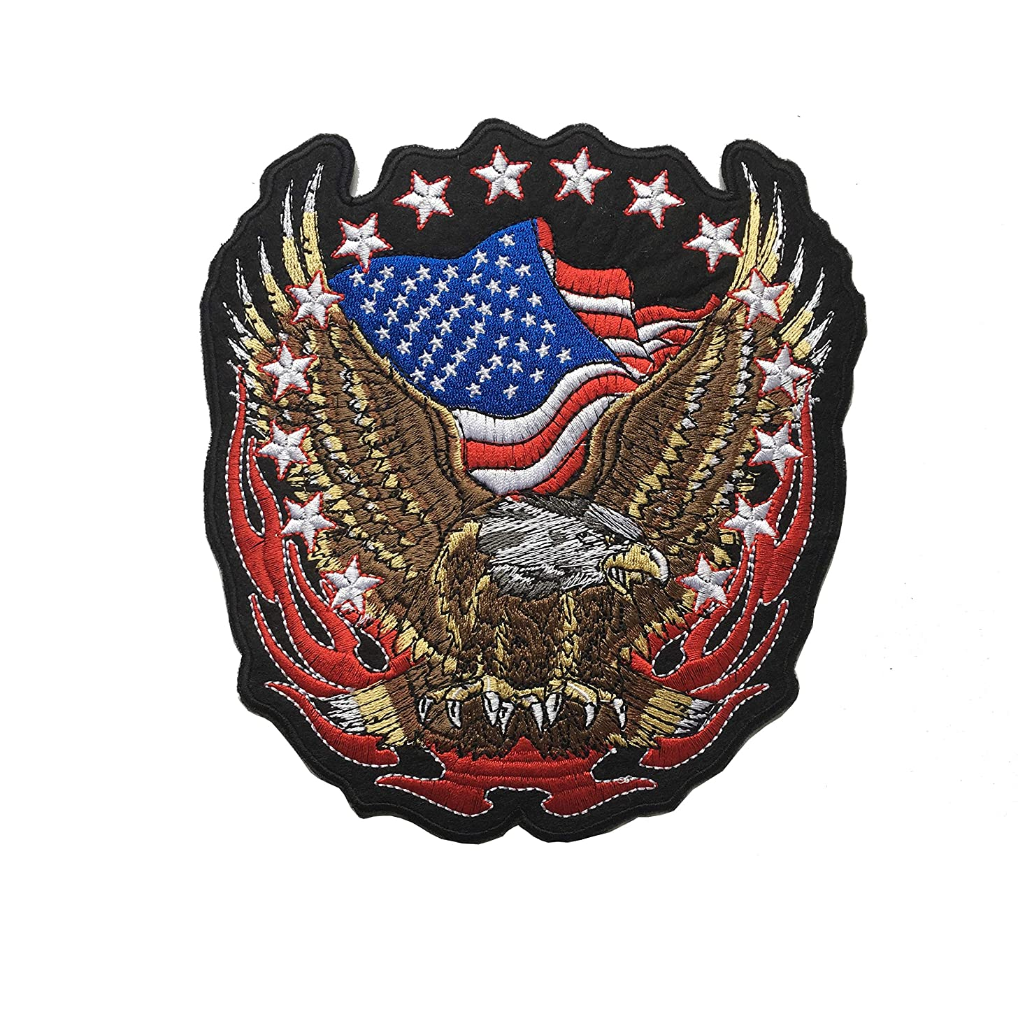 1pcs Large Patriotic Flying Eagle American Flags Embroidered Iron On Sew on Patch (A-Size: 7.17.5inch)