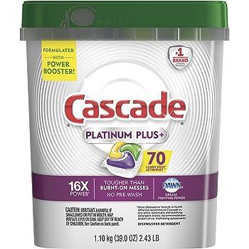 Cascade Platinum Plus Dishwasher Pods, ActionPacs Detergent, Lemon, 70 Count