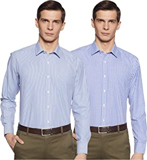 Amazon Brand - Symbol Men's Checkered Regular fit Formal Shirt (Pack of 2)