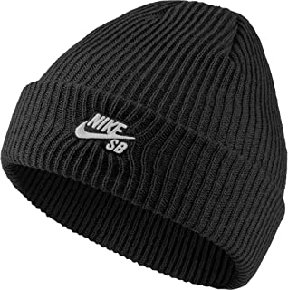 NIKE Mens SB Fisherman Black/White Beanie Hat 628684-011, One Size