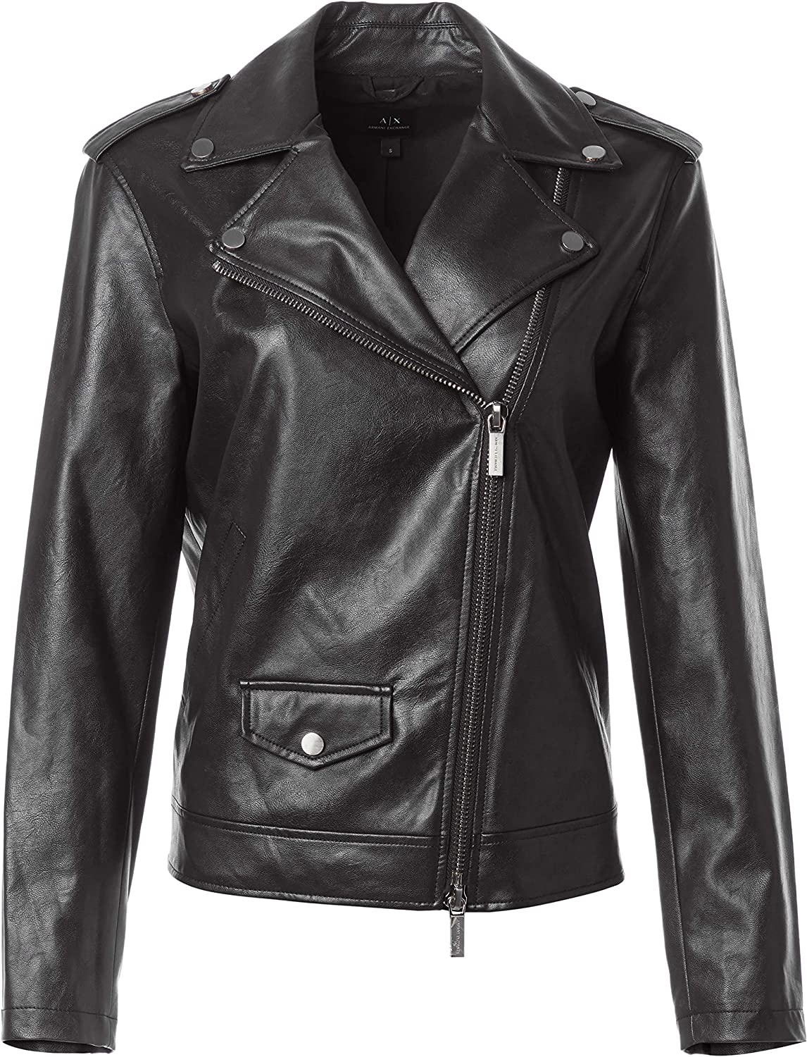 AX Armani Exchange Women's Relaxed Fit Eco Leather Motorcycle Jacket