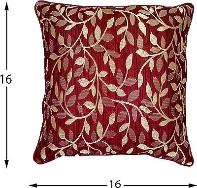 "STITCHNEST Silk Cushion Cover - 16""x16"", Set of 5, Red"