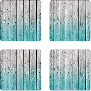 Ambesonne Rustic Coaster Set of 4, Wood Panels Background with Digital Tones Effect Country House Art Image, Square Hardboard Gloss Coasters for Drinks, Standard Size, Teal Grey