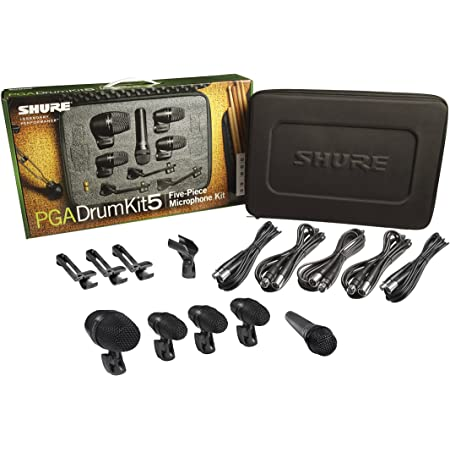 Shure PG Alta 5-Piece Drum Microphone Kit for Performing and Recording Drummers, includes Mics, Mounts and Cables with options for Kick Drum, Snare and Tom (PGADRUMKIT5)