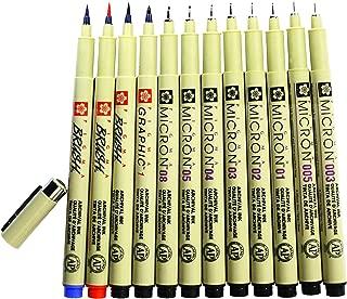 Sakura 12 Pcs Pigment Liner Pigma Micron Ink Fine Line Pen Set 003 005 01 02 03 04 05 08 Graphic 1 & Brush(Red,Blue,Black)