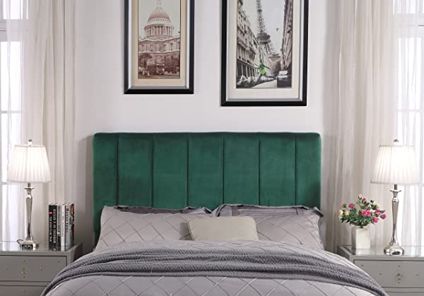 Iconic Home FHB9046 AN Uriella Headboard Velvet Upholstered Vertical Striped Modern Transitional King Green