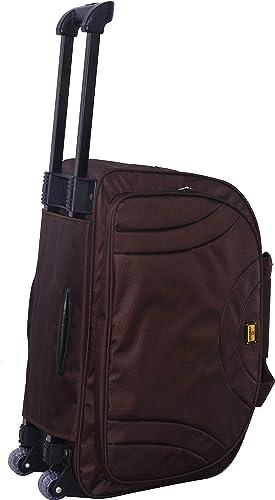 Luggage Collection Trolley Wheel Bag Soft Sided Fabric Trolley Duffle Wheel Bag Luggage For Travelling Brown 58 Cm Set 0F 1 Pcs