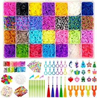 KAQINU 21,000+ Rainbow Loom Bands Refill Kit, Over 19,500 Premium Rubber Loom Bands, 1200 S-Clips, 402 Beads, 30 Charms, 5 Y Looms, Crochet Hooks, Backpack Hooks, Stickers with Organizer Box for Kids