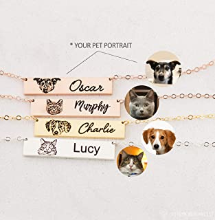 Pet Portrait Necklace by Caitlyn Minimalist Cat Lover Jewelry Pet Memorial Gif