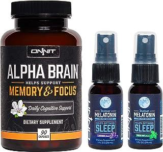 ONNIT Sleep + Focus Stack - Alpha Brain (90ct) + Melatonin Spray (Lavender & Mint)