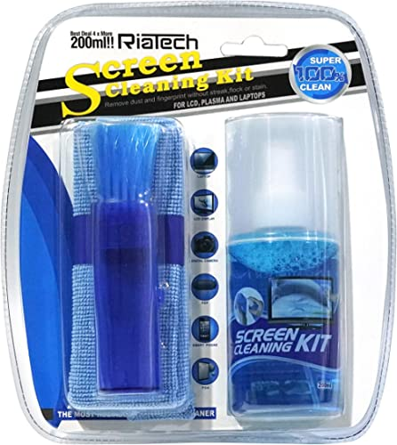 RiaTech 3 in 1 Screen Cleaning Kit with Microfiber Cloth & Brush for Electronic Devices, 200ml