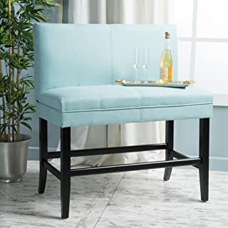 Christopher Knight Home Elisse Light Blue Fabric Barstool Bench,