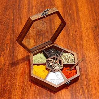 Creation India Craft Wooden Hexagonal Spice Box Masala Dabba Containers Jars Set for Kitchen with Spoon in Rosewood for Ki...