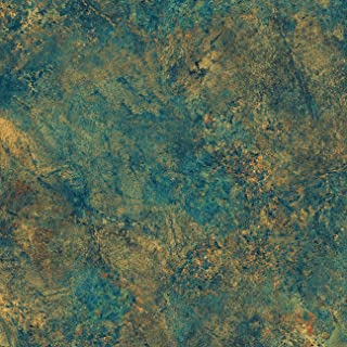 Teal, Copper Accents, Marble Stone Textured Fabric, Stonehenge Oxydized Copper, 39301 69, Linda Ludovico, Northcott, by The Yard