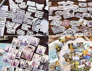4 boîtes Autocollants Thème du timbre, 180 Stickers Découpe de papier journal, tampon, étiquette pour Scrapbooking Deco de...