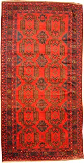 Herat Oriental Afghan Hand-Knotted Semi Antique Tribal Balouchi Rug, 6-Feet 7-Inch by 12-Feet 10-Inch, Red/Navy