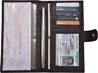 Leather Checkbook Cover For Men & Women- Checkbook Registers RFID Blocking checkbook wallet