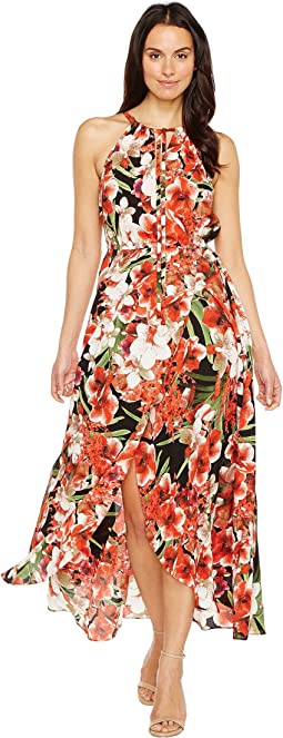 Floral Print Keyhole Crinkle Maxi