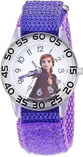 ساعة ديزني للبنات فروزن انالوج كوارتز بحزام نايلون، 16 موديل (WDS000782)