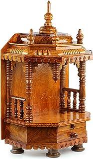Premium Hand Made Wooden Temple | Wooden Indian Mandir | Sheesham Wooden Madir | Nagina International (Rosewood)
