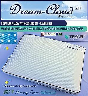 Dream-Cloud Premium Almohada de Espuma viscoelástica ventilada y refrigeración. Bio-basada. Dispositivo médico de Clase 1. 60x40x12cm. ¡Suave e irresistiblemente cómodo!