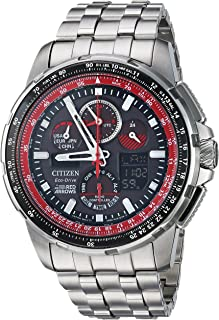 Citizen Men's Eco-Drive Japanese-Quartz Aviator Watch with Stainless-Steel Strap, Silver, 23 (Model: JY8059-57E