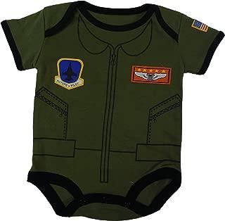 Future Pilot Baby Boys Bodysuit Airman Flight Suit 0-12 Mo Black & Olive