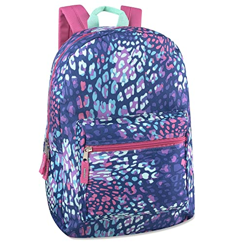 Trailmaker Girls All Over Printed Backpack 17 Inch With Padded Straps (Animal)