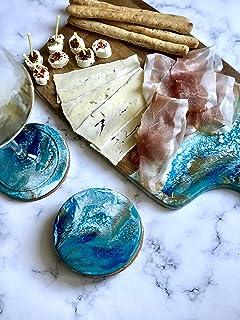 Posavasos con efecto mármol, azul, turquesa, blanco y dorado Conjunto de 4+ piezas, 10 cm de diámetro