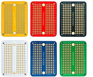 ElectroCookie Mini PCB Prototype Board Solderable Breadboard for Arduino and DIY Electronics Projects, Gold-Plated (6 Pack, Multicolor)