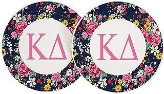 Kappa Delta Sorority Absorbent Sandstone Car Cup Coaster (Set of 2) Licensed Product KD (Floral Letter)