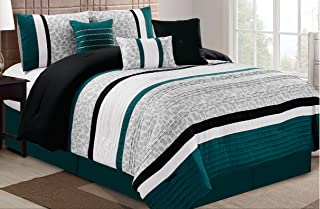 Dovedote 7PC Ovresize Luxury Microfiber Stripe Comforter Set (Queen, Teal)