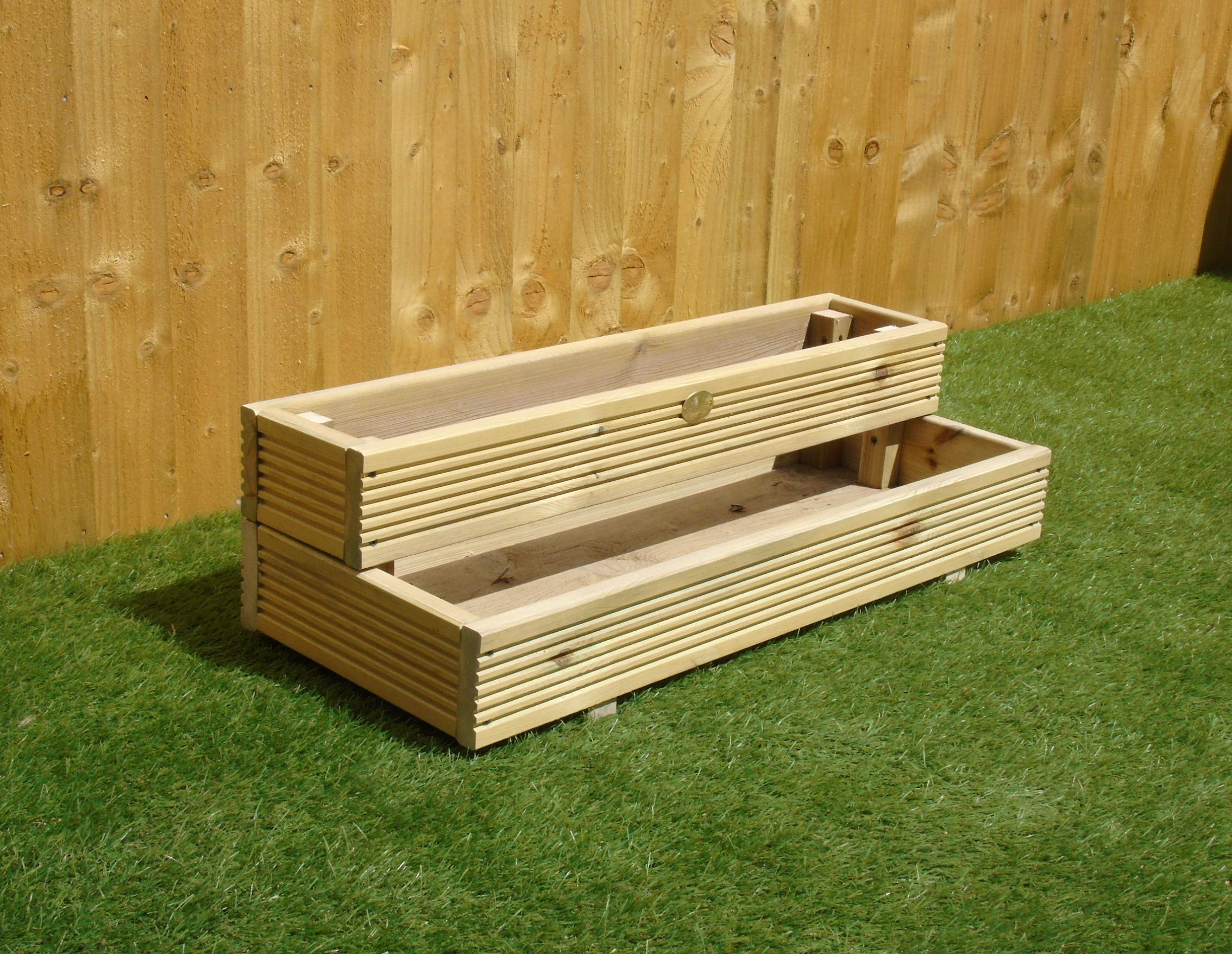 Two Tiered Garden Level Steps Wooden Timber Decking Planter Trough (Medium - 3ft (91.5 cm), Natural)