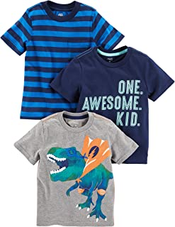 Simple Joys by Carter's Camisetas de Manga Corta con gráficos Bebé-Niños, Pack de 3