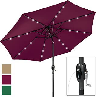 Best Choice Products 10-Foot Aluminum Polyester Solar LED Market Patio Umbrella w/USB Charger and Detachable Portable Power Bank, Burgundy