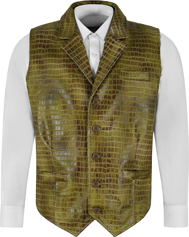 ANDY Men's CROC PRINT Vest Exotic Olive Vintage Party Fashion Classic Leather Waistcoat 1349