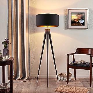 Lampadaire Trepied 'Benik' (Moderne) en Noir en Textile e. a. pour Salon & Salle à manger (1 lampe,à E27, A++) de Lindby |...