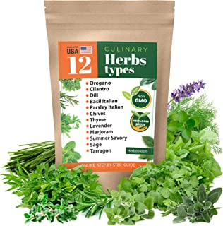 Herb Garden Seeds Collection - 12 Culinary Herb Seeds Pack - Non-GMO Heirloom Seeds for Planting