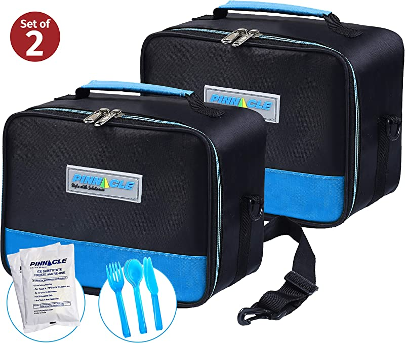 PINNACLE Insulated Reusable Lunch Box Thermal Lunch Tote For Adults And Kids Lunch Bag With BONUS GEL ICE PACK And MATCHING CUTLERY 2 Way Zipper Set Of 2 2 Blue