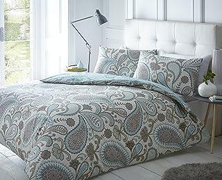 Sleepdown Paisley Teal Juego de Funda de edredón Doble, algodón, Verde Azulado, Doublé