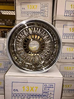 Set of 4 New 14X7 72 Spoke Cross Laced Center Gold Reverse Wire Wheels with Accessories Lowrider