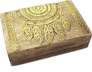 Doos doos dromenvanger motief 21x13,5x6 cm, hout natuurlijk goud beschilderd schatkist juwelendoosje box houten box Dreamc...
