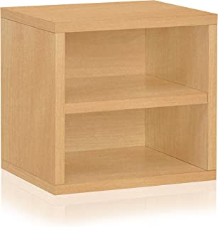 Way Basics Eco Stackable Connect Storage Cube with Shelf Cubby Organizer, Natural Wood Grain (Tool-Free Assembly and Uniquely Crafted from Sustainable Non Toxic zBoard Paperboard)