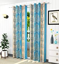 LaVichitra 2 Piece Polyester Eyelet Door Curtains -7 ft; Floral; Aqua Blue