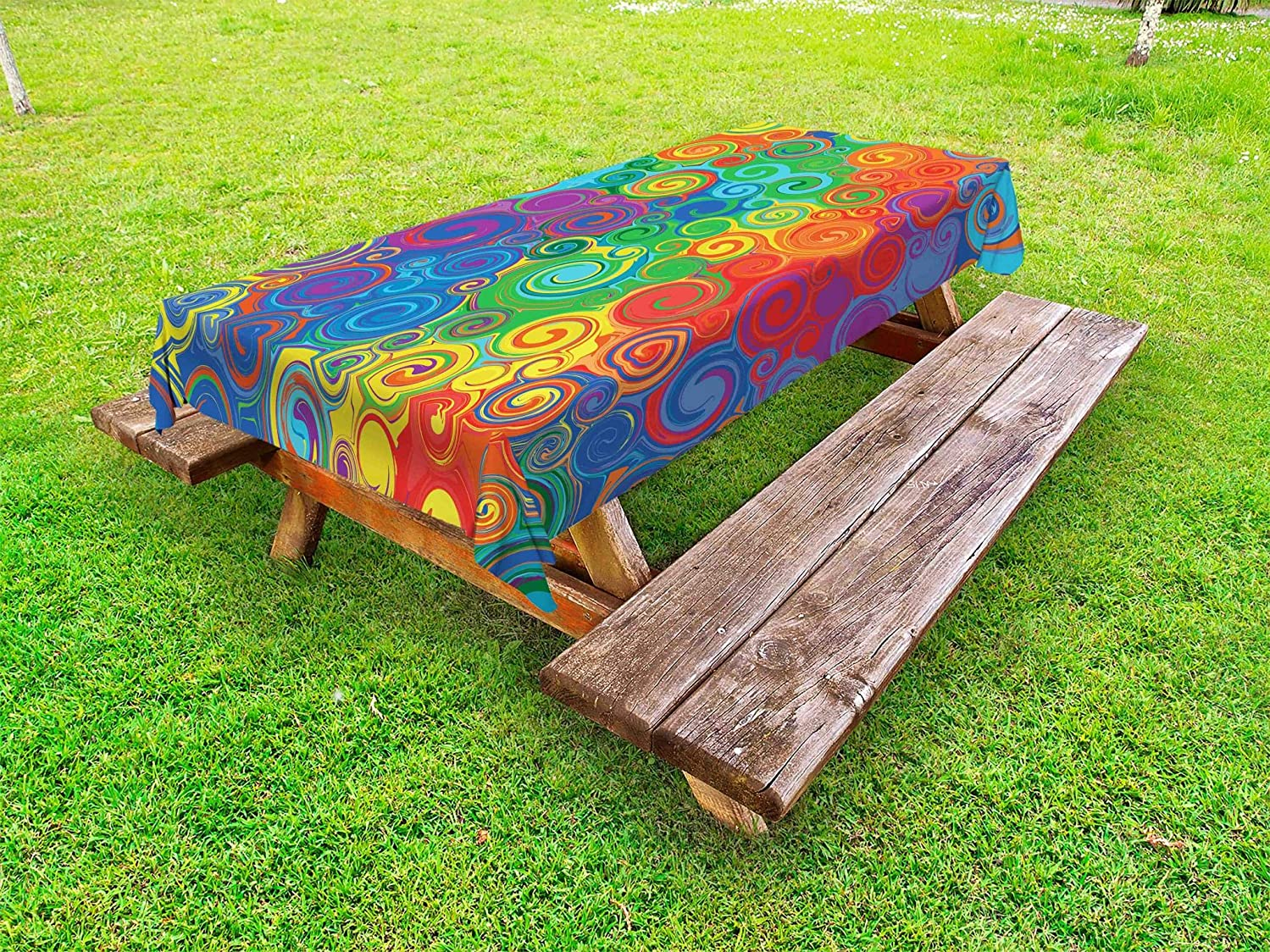 Lunarable Abstract Outdoor Tablecloth, Abstract Rainbow Colored Curved Stripes Swirls and Shapes Pattern Vibrant Colors, Decorative Washable Picnic Table Cloth, 58 X 84 Inches, Multicolor