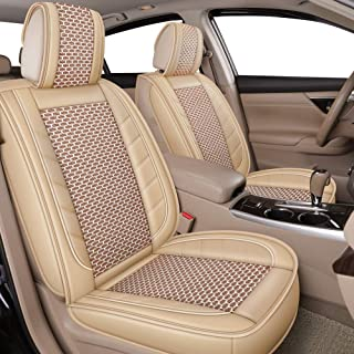 LUCKYMAN CLUB Breathable 5 Car Seat Covers Fit for Most Sedan SUV Truck Nicely Fit for 2019 Acura RDX RLX TLX 2018 Mazda CX-5 Mazda3 Mazda6 Honda Accord CRV 2017 Hyundai Sonata (Beige Full Set)