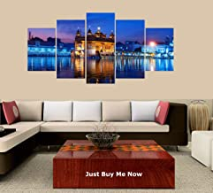 PEACOCK JEWELS [Large] Premium Quality Canvas Printed Wall Art Poster 5 Pieces / 5 Pannel Wall Decor Golden Temple Drawing Painting, Home Decor Pictures - Stretched